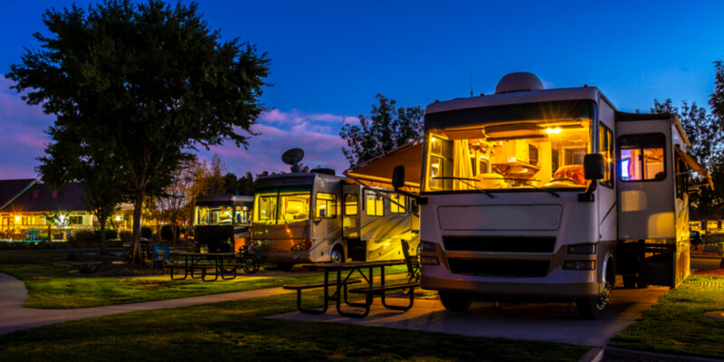 Rving at a resort in the evening lighted sky