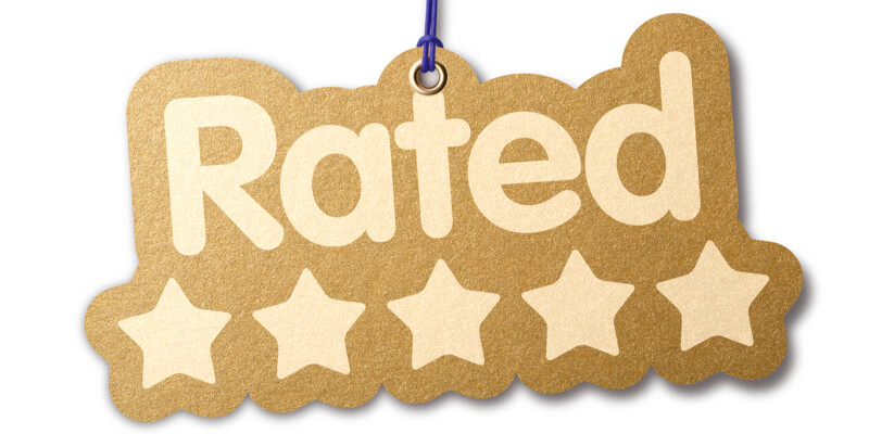 The word 'RATED' with five stars
